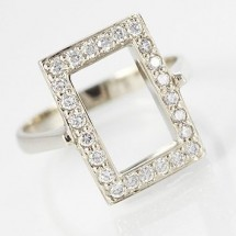 Loading image - 9ct White Gold Dress Ring with Diamond Cz