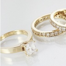 Loading image - 9ct Gold Simulated Diamond Wedding Ring Set x 3