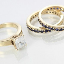 Loading image - 9ct Gold Sapphire and Diamond Wedding Ring Set