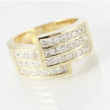 Loading image - Unisex 9ct Yellow Gold Diamond Cz Dress Ring