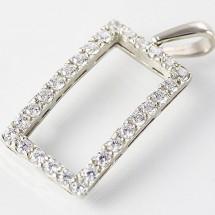 9ct White Gold Simulated Diamond Pendant