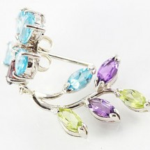 Loading image - Multi Gem and Diamond Dangle Earrings Set in 9ct White Gold