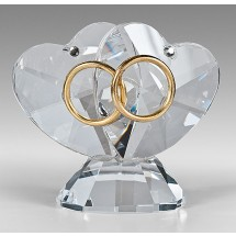 Crystal Heart with Gold Rings Wedding Gift