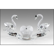 Crystal Figurine, Twin Swans with Heart