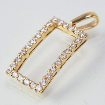 Loading image - 9k Solid Gold Rectangular CZ Pendant