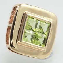 Loading image - Elegant 9ct Peridot Pendant 4 Princess Cut Stones