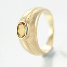 Loading image - Unisex 9ct Yellow Gold Citrine Dress Ring