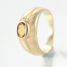 Loading image - Unisex 9ct Yellow Gold Citrine Dress Ring