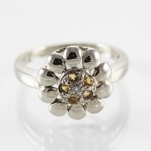 Loading image - 9ct Gold Diamond and Citrine Floral Ring