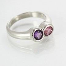 Loading image - 9ct White Gold Ring with Amethyst and Pink Tourmaline