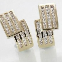 Solid 9ct Gold Simulated Diamond Huggie Earrings