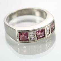 9k White Gold  Pink Tourmaline and CZ Ring