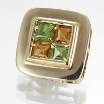 Loading image - Peridot & Citrine Pendant 4 Princess Cut Gems Surrounded by 9 Ct Solid Gold