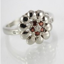 9ct White Gold Garnet and Diamond Ring