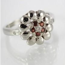 Loading image - 9ct White Gold Garnet and Diamond Ring