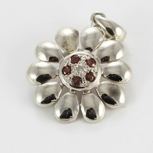 Loading image - 9ct White Gold Garnet and Diamond Floral Pendant