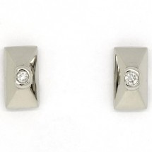 Loading image - Rectangular 9ct White Gold Diamond Stud Earrings