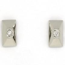 Loading image - Rectangular 9ct White Gold Diamond Stud Earrings