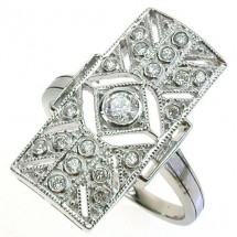 Sterling Silver Ring , Antique Style with Cubic Zirconia