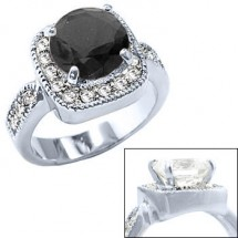 Black Diamond Engagement Ring in Rhodium Silver