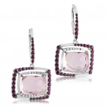 Loading image - Pink Amethyst Diamond  White Gold Earring