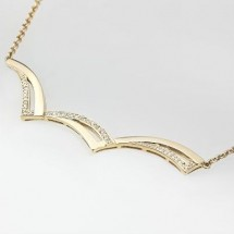 Loading image - 9 ct Solid Gold  Necklace with a Multitude of Sparkling Diamonds  0.6ct