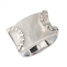Loading image - Sterling Silver Dress Ring, White Mother of Pearl with Cubic Zirconia