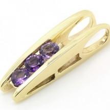 Loading image - 9ct  Gold 3 Stone Amethyst Gemstone Pendant