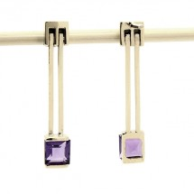 Loading image - 9ct Yellow Gold Amethyst Drop Stud Earrings