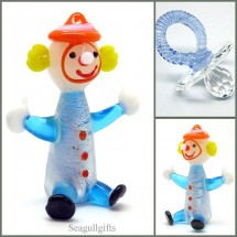 Loading image - Crystal Blue Dummy, Art Glass Clown Figurine, Baby Boy Gifts