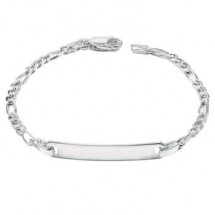 Loading image - 925 Sterling Silver Baby Child Plain Figaro ID Name Bracelet