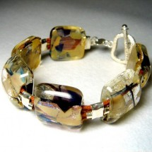 Textured Lampwork Glass Beaded Bracelet