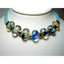 Designer Necklace, Fused Art Glass, by JanArt, Sterling Silver and Silk Cord