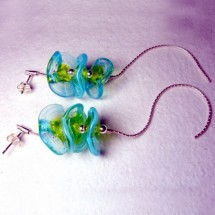 Loading image - Handcrafted Blue Green Glass Floral Stud Earrings
