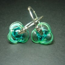 Loading image - Designer Hoop Earrings Fused Glass by Jan Art Jewelry