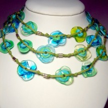 Designer Necklace, Art Glass Jewelry by JanArt