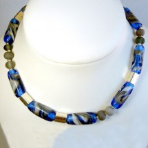 Loading image - Designer Necklace, Fused Glass and Sterling Silver