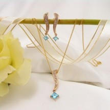 Loading image - Genuine Diamond and Blue Topaz Earring and Pendant Set