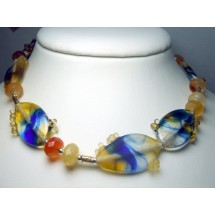 Designer Necklace in Fused Glass, Made in Israel