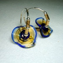 Designer Earrings, Blue Floral Art Glass with Sterling Silver