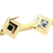 Loading image - Solid 9k Gold Blue Topaz Stud Earrings