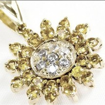Loading image - 9ct Diamond and Citrine Star Pendant