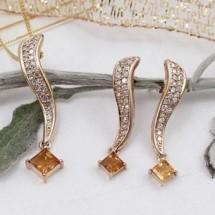 Loading image - Diamond  - Citrine Earring and Pendant Set