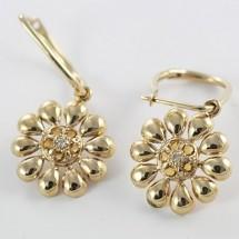 Loading image - 9ct Gold Citrine and Diamond Flower Shaped Hoop Earrings