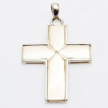Loading image - Solid 9ct Gold Cross Pendant with Diamond.