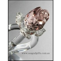 Loading image - Crystal Pink Rose Heart Ornament