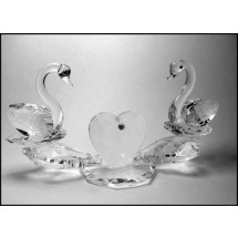 Crystal Ornament Two Swans with Heart