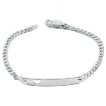 Loading image - 6 Inch Sterling Silver Baby Child Curb ID Heart Name Bracelet