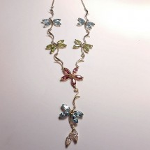 Loading image - Multi Gemstone Pendant Necklace 9ct Yellow Gold
