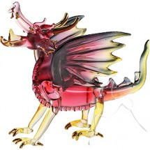 Loading image - Hand Crafted Glass Guardian Dragon Figurine, Red/Black